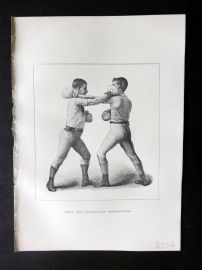 Badminton Library 1889 Boxing Print. Right Hand Cross-Counter